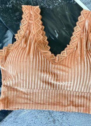 Яркий кружевной бесшовный топ оранжевого цвета со съемными чашками без косточек
