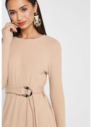 Теплое платье мини длинный рукав в рубчик под вельвет с поясом на пряжке