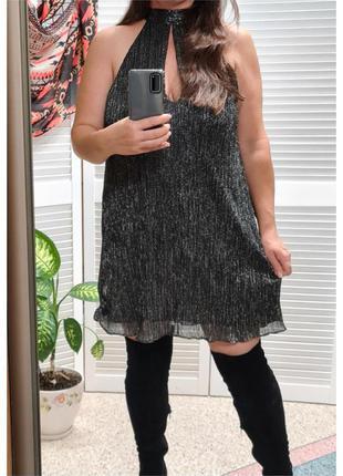 Блестящее короткое платье zara
