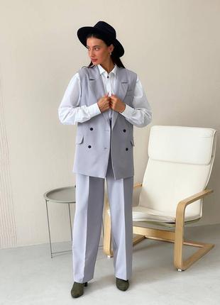 Брючный костюм, жилетка и брюки палаццо, много расцветок, прямые брюки и жилет
