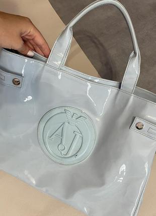 Лаковая сумка armani jeans бирюзовая оригинал