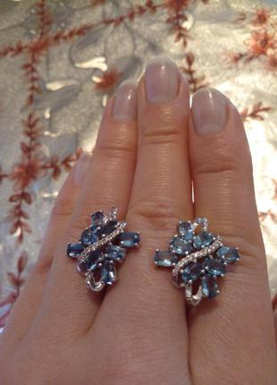 Серьги серебро родий натуральные камни
