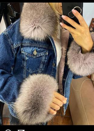 Женская джинсовая куртка с песцом, джинсовка с мехом, xs-xl