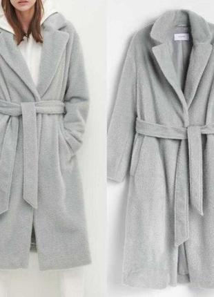 Новое пушистое пальто серо-бирюзового цвета.