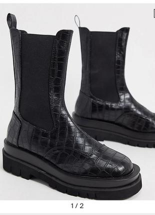 Ботинки челси на толстой подошве принт крокодил