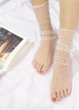 Носки носочки фатиновые фатин сетка прозрачные в горох белые ретро новые