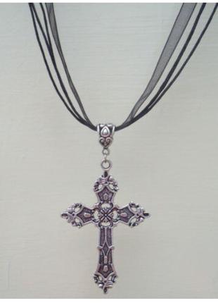 Чокер с подвеской кулон крест в стиле панк готика