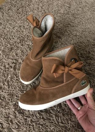 Утеплені шкіряні черевички lacoste 37роз 🔥🔥🔥