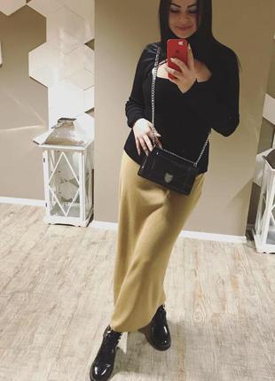 Длинная тёплая бежевая молочная вязанная юбка в пол цвета camel