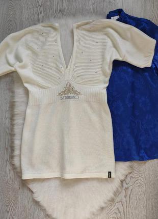 Белая айвори кофта свитер блуза с глубоким вырезом декольте стразами камнями