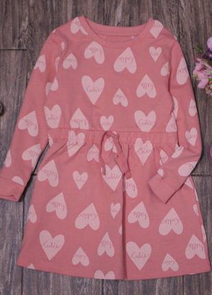 Персиковые платье george из двунити в сердечко 2-3 года