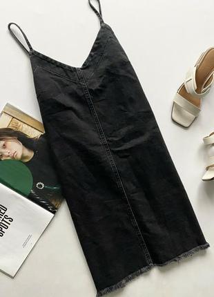 Красивый сарафан джинсовый темно серый 12 л