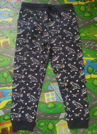 Утеплённые штаны с начесом, джоггеры с динозаврами, теплые штаны на байке, флисе