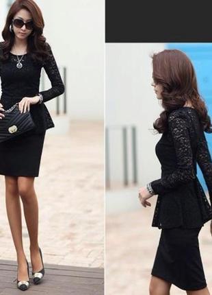 Черная блуза баска гипюр ажурная сетка нарядная сетка реглан джемпер рюшей снизу