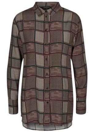 Удлиненная блуза рубашка р. 54 вискоза