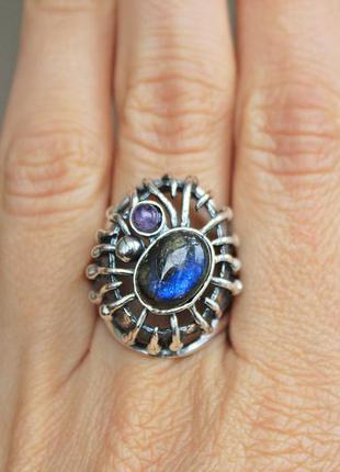 Серебряное кольцо титан лабрадорит р.19