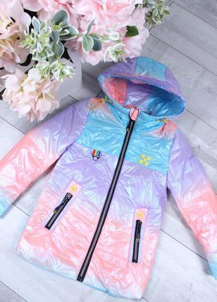 Детская демисезонная куртка для девочки 6-11 лет радужная тай дай 2021