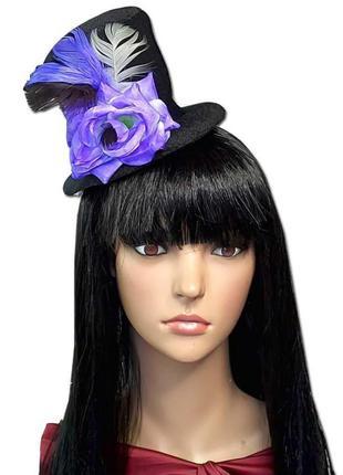 Гламурная маленькая черная шляпка с фиолетовой розой марди гра хэллоуин +подарок