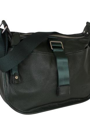 Вместительная повседневная сумочка de esse на длинном ремешке темно-зеленая