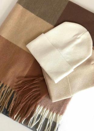 Комплект шапка і шарф кашемір, різні кольори