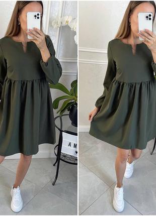 Платье стильное цвета хаки