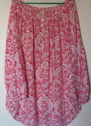 Блуза хб в красно-белый принт большой размер
