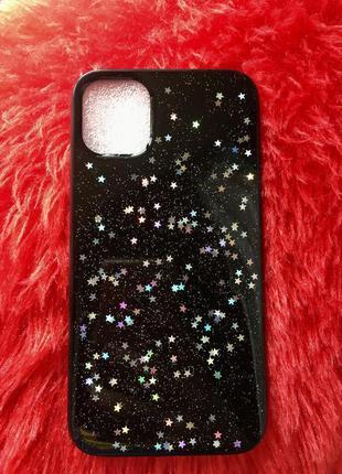 Новый чехол на айфон 11 чёрный с блёстками звёздочками