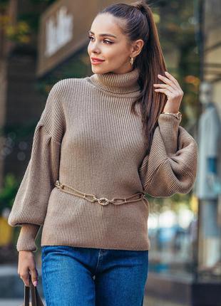 Разные цвета! оригинальный свитер с объемными рукавами бежевый коричневый голубой под горло вязаный шерстяной тёплый