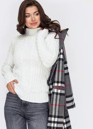 Разные цвета! теплый свитер плотной вязки молочный с воротником стойкой белый бежевый под горло