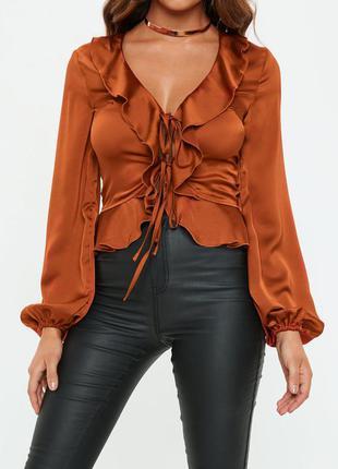 Сатиновая блуза на завязках