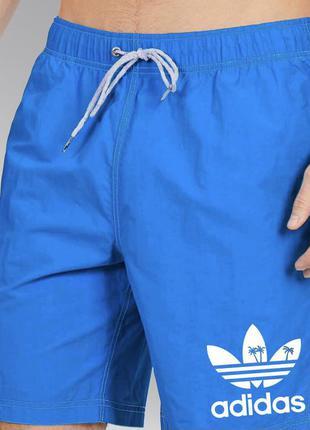 Топовые мужские летние пляжные шорты плавки adidas синие адидас