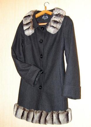 Пальто с натуральным мехом шиншиллы ricco 💙 шерстяное пальто ricco