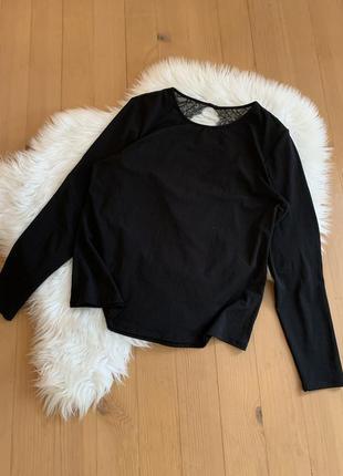 Базова чорна кофта блуза з мереживом
