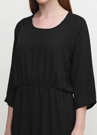 Черное платье миди рукав 3/4 шифон esmara