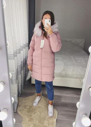 Новый розовый пуховик зима