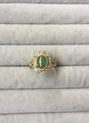 Кольцо цвет золото зелёный стразы стекло размер 16