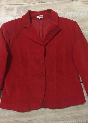 Красный вельветовый пиджак 🇮🇹жакет блейзер