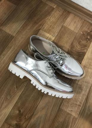Туфли ботинки оксфорды броги зеркальные серебристые