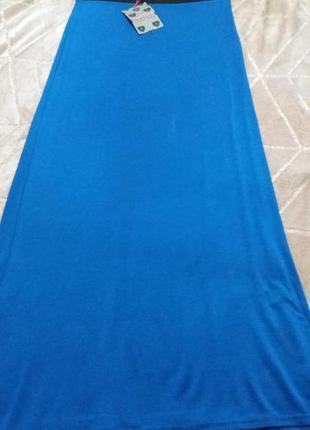 Синяя длинная юбка карандаш boohoo
