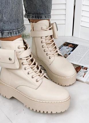 Бежевые демисезонные ботинки, женские ботинки с карманом 37р-24 см