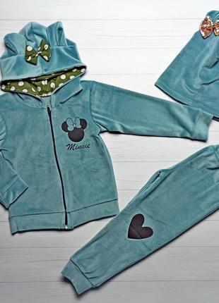 Детский велюровый костюм на девочку 2-7 лет 92-122