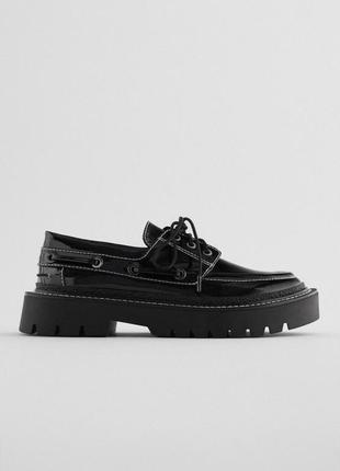Тренд - массивные лаковые туфли лоферы  от zara - 40 р-р - на 39, 40