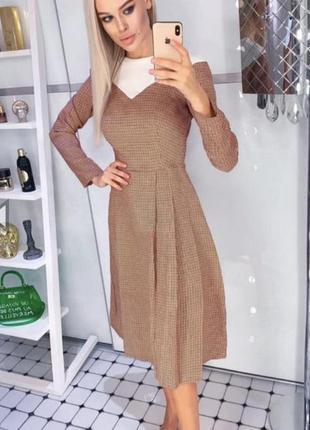 Стильное платье на осень миди гусиная лапка
