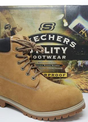 Кожаные водонепроницаемые  утеплённые ботинки skechers tinsulate оригинал унисекс