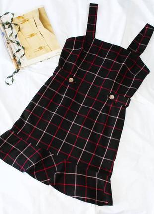 Платье сарафан с баской в клетку miss selfridge