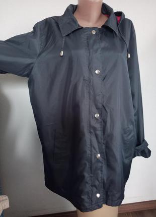 Куртка ,ветровка темно-серая с яркой подкладкой