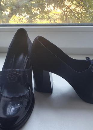 Туфли женские (кожа)  лак и замш