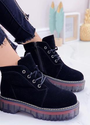 Замшевые демисезонные женские ботинки , кожаные ботинки, берцы 39р-24.5см
