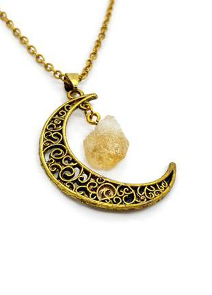 "🌜🍋 ажурный кулон на цепочке ""луна"" натуральный камень цитрин месяц"