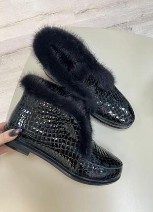 Дизайнерские лоферы опушка норка натуралтная осень зима туфли